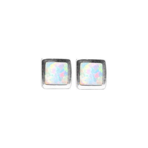 Square Bezel White Opal Studs (ST-1346-WO)