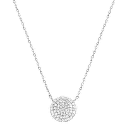 Sterling Silver CZ Round Necklace (N-1058)