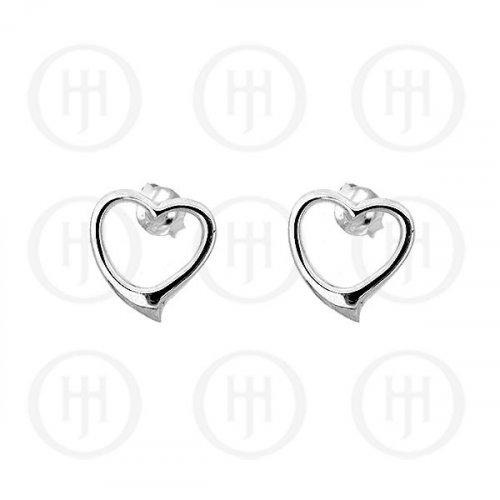 Silver Plain Stud Heart Earrings (ER-1046)