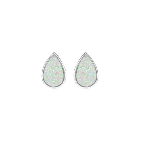 Silver Opal Stone Teardrop Shape Studs Earrings (ST-1216-WO)