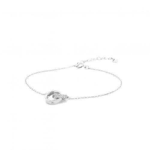 Sterling Silver Interlocking CZ and Plain Ring Bracelet (BR-1355)
