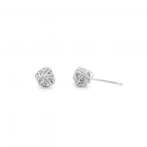Sterling Silver Basket Woven Love Knot Wire Studs (ST-1471)