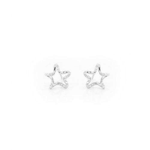 Sterling Silver CZ Cursive Star Suds (ST-1472)