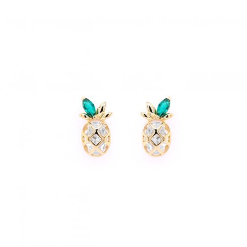 Sterling Silver CZ Green Leaf Pineapple Studs (ST-1473)