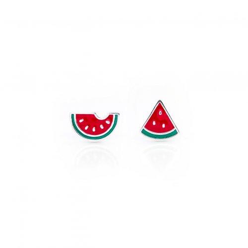 Sterling Silver Enamel Mismatching Watermelon Studs (ST-1475)