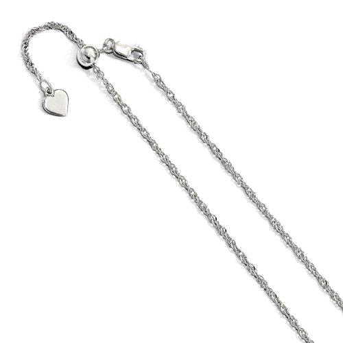 Adjustable Rhodium Plated Singapore Chain (SING40-RH-ADJ)