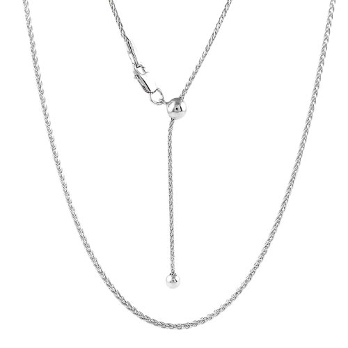 Adjustable Rhodium Plated Spiga Chain (SPIGA30-RH-ADJ)
