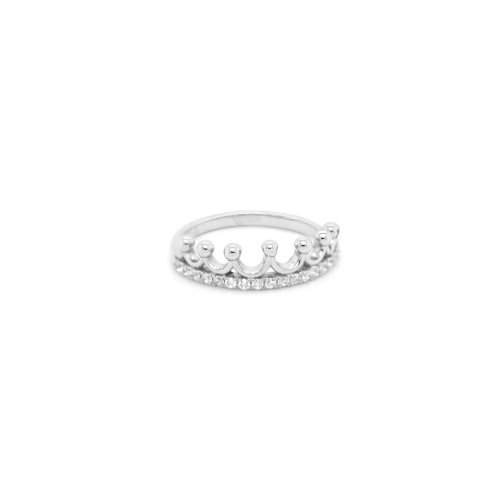 Sterling Silver Seven Point CZ Princess Crown Ring (R-1575)