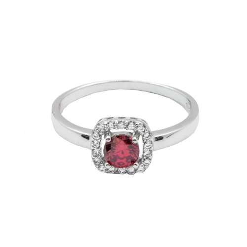 Silver Ruby CZ Ring (R-1506-R)