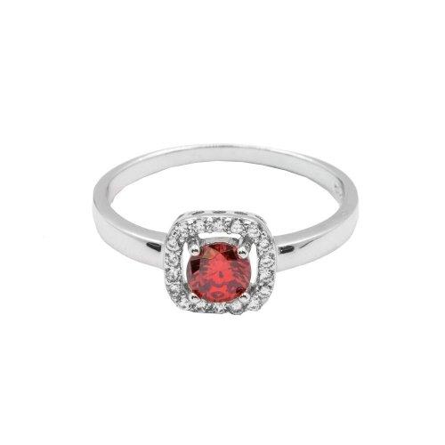 Silver Garnet CZ Ring (R-1506-G)