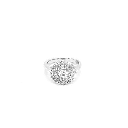 Silver Rhodium Plated CZ Round Stone Ring (R-1224)