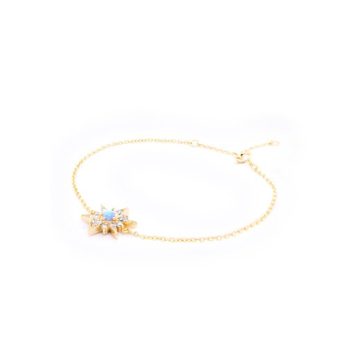 Sterling Silver Gold Plated CZ and Opal Morning Star (BR-1360)
