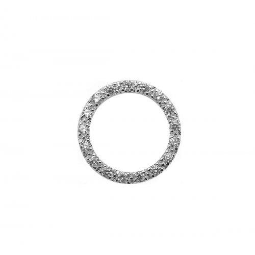 Silver Open Round CZ Pendant (P-1109-S)