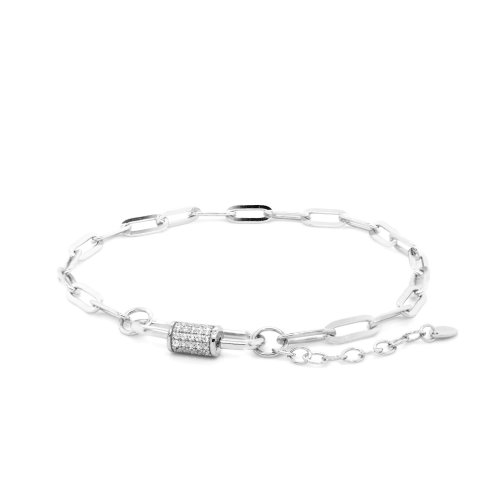 Sterling Silver Anchor Chain with CZ Adjustable Clasp (BR-1363)