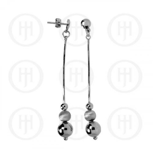 Silver Rhodium Plated Dangle Ball Earrings (RPE010)