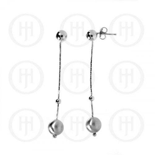 Silver Rhodium Plated Ball Dangle Earrings (RPE024)