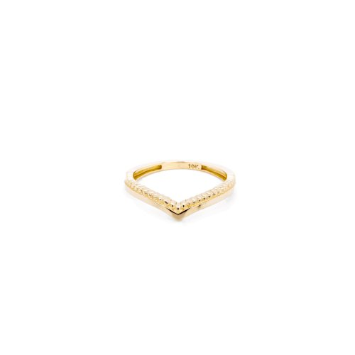 10K Yellow Gold Mixed Texture Pointed Ring (GR-10-1094)