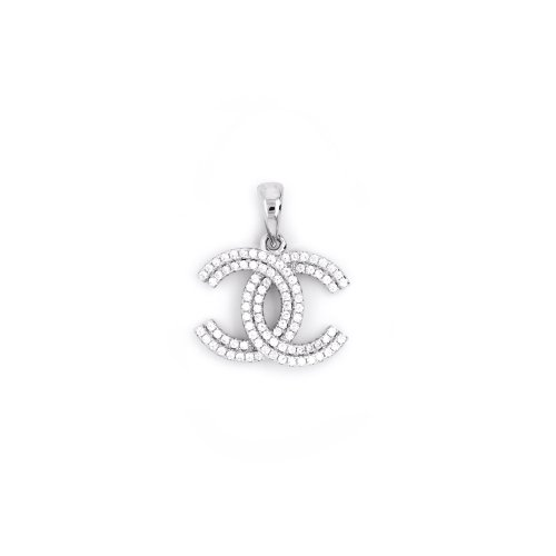 Sterling Silver Double Row of CZ Chanel Inspired Pendant (P-1451)