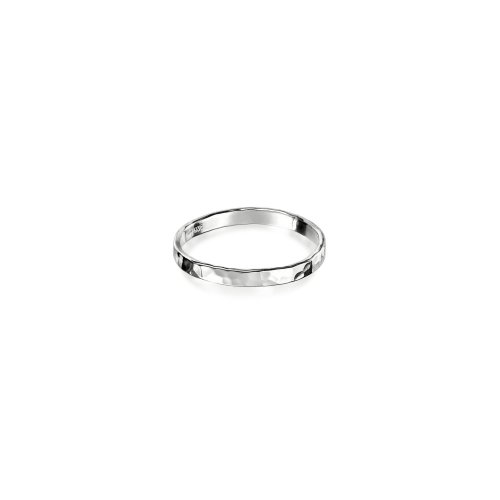 Silver Plain Hammered Band Ring (R-1193)