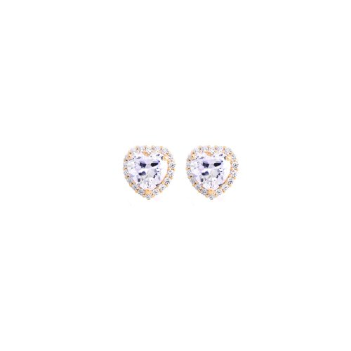 Sterling Silver CZ Halo Heart Studs (ST-1299)