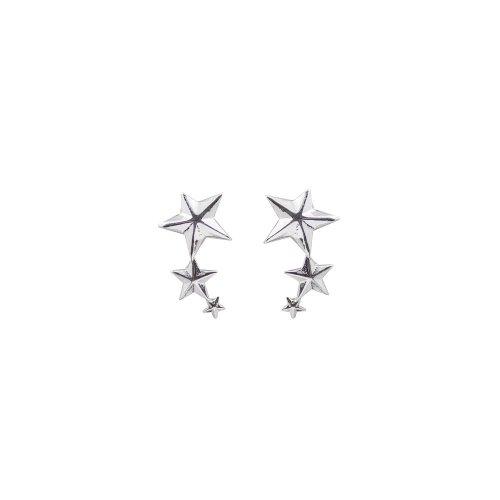 Silver Plain Connected Stars Stud Earring (ER-1126)