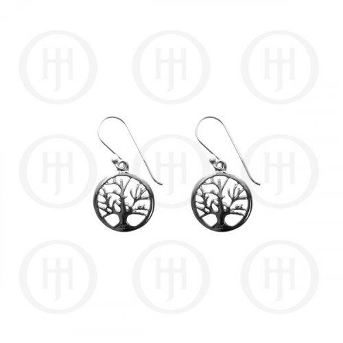 Plain Sterling Silver Tree of Life Dangle Earrings 25mm (ER-1064)