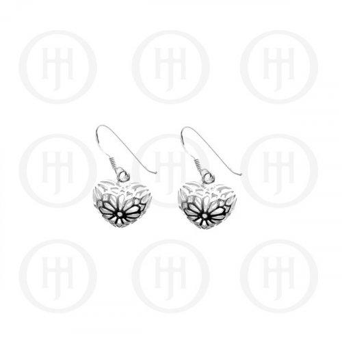 Silver Plain Carved Heart Dangle Earrings (ER-1053)