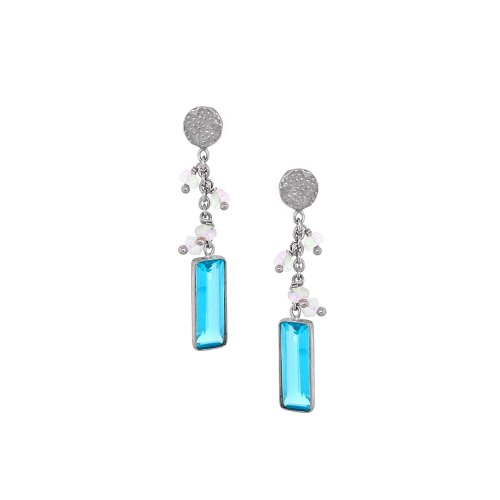 Sterling Silver Rhodium Plated Blue topaz/Lab Drop Earrings (ER-1193-BT)