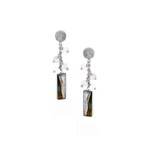Sterling Silver Rhodium Plated Moonstone/Lab Drop Earrings (ER-1193-MS)