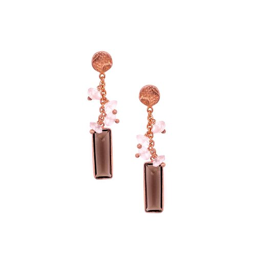 Sterling Silver Rosegold Plated Rose/Smoky Drop Earrings (ER-1193-SM)