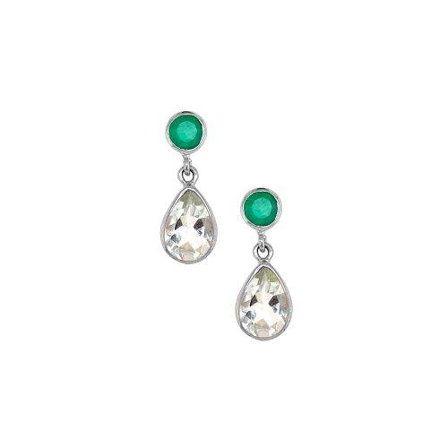 Sterling Silver Rhodium Plated Green Onyx/Green Amethyst Stone Earrings (ER-1197-GA)