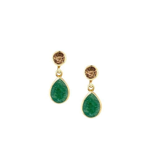 Sterling Silver Rhodium Plated Green Adventure/Smoky Stone Earrings (ER-1197-SM)