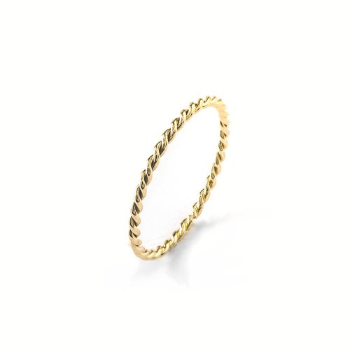 Silver Gold Plated Plain Rope Midi Ring (R-1325-G)