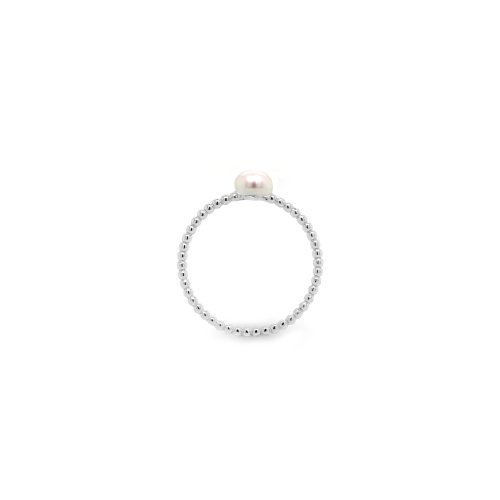 Sterling Silver Rhodium Plated Pearl Bubble Ring (R-1577)