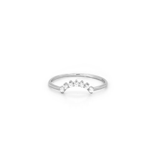 Sterling Silver RH Plated CZ Sunrise Stacking Ring (R-1585)