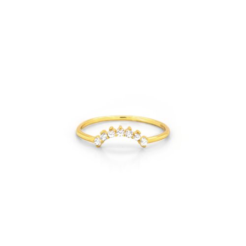 Sterling Silver Gold Plated CZ Sunrise Stacking Ring (R-1585-G)