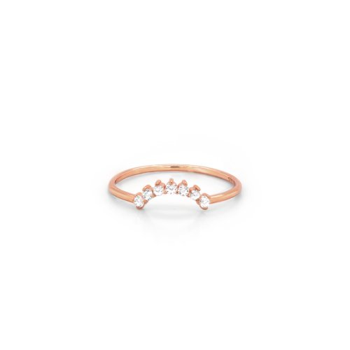 Sterling Silver Rose Gold Plated CZ Sunrise Stacking Ring (R-1585-R)