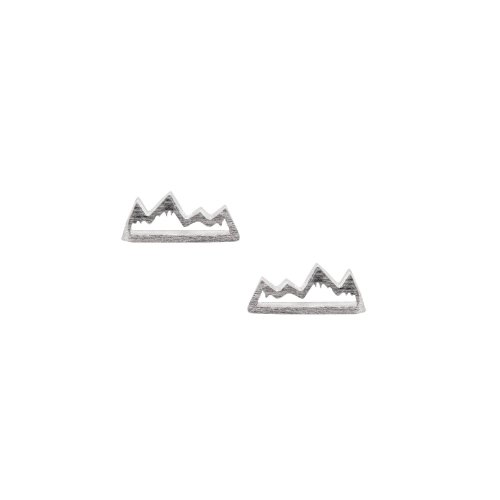 Sterling Silver Satin Finish Cutout Snowy Mountains Studs (ST-1301)