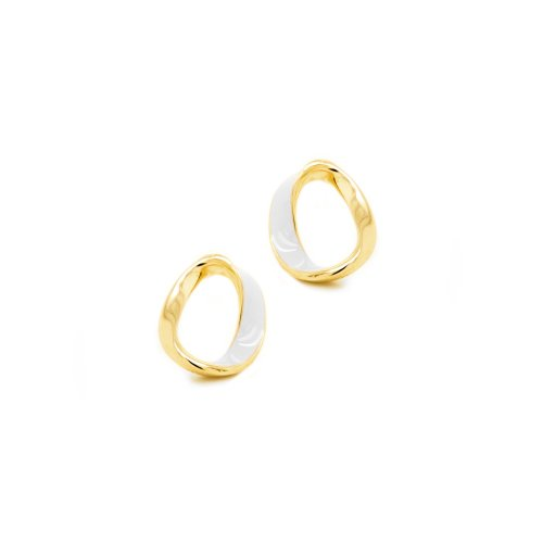 Sterling Silver Gold Plated Twisted Enameled Circle Of Life Studs Earrings(ST-1505)