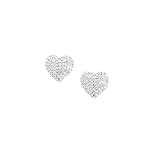 Sterling Silver Medium Size Pave CZ Heart Stud Earrings (ST-1504)