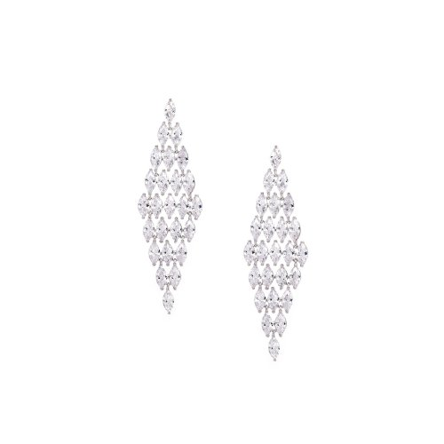 Sterling Silver Marquise Cluster Chandelier Earrings (ER-1356)