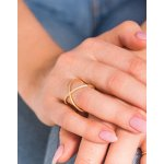 Silver Gold Plated CZ Criss Cross Ring One Row (R-1191-G)