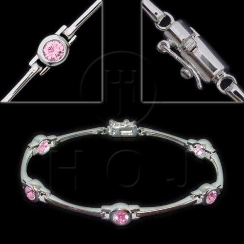 Sterling Silver Pink CZ Round Bezel Tennis Bracelet (BR-CZ-106-P)