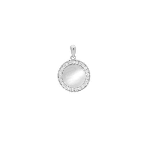 Sterling Silver CZ Circle Bezelled Pendant (P-1398)