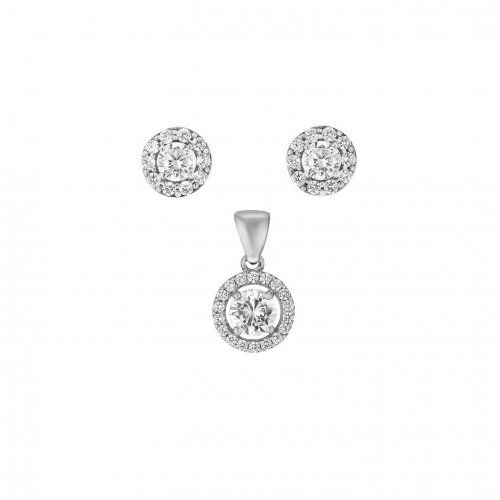Sterling Silver CZ Round Pendant Set (PS-1050)