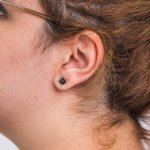 Silver Black Square Princess Cut CZ Stud Earrings 7x7 (ST-1018-7)