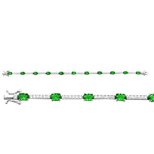 Silver Plain CZ Simulated Emerald Tennis Bracelet (BR-CZ-111-E)