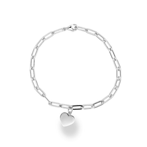 Sterling Silver Anchor Chain With Heart Charm (BR-1368)