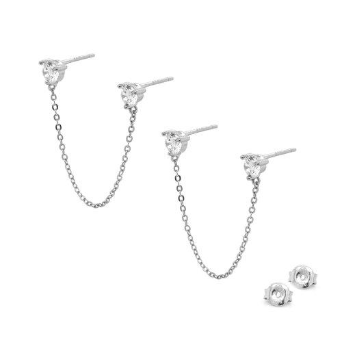 Sterling Silver CZ Stones Double Piercing Connected Studs (ST-1508)