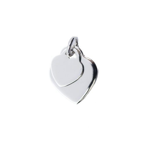 Silver Double Heart Dog-Tag Pendant (DT-H-103)